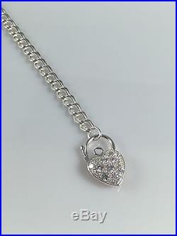 925 Sterling Silver Women Charm Bracelet Cubic Zirconia Heart Padlock 7.5