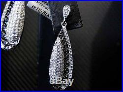 925 Sterling Silver Womens Fancy C. Z Drop Dangling Earring White Black Cubics