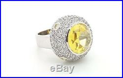 925 Sterling Silver Yellow Cubic Zirconia Cz Large Round Ladies Cocktail Ring