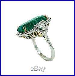 925 Two Toned Silver 34.00 Carat Emerald & Trillion Cut Cubic Zirconia Fine Ring