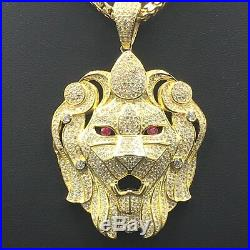 9ct Yellow Gold On 925 Silver Cubic Zircon Lion's Head Pendent & Chain 1611