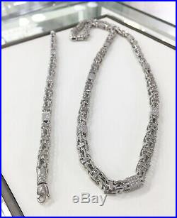 ALL WHITE 925 Sterling Silver Cube CAGE Chain Gents Cubic Zirconia Stones