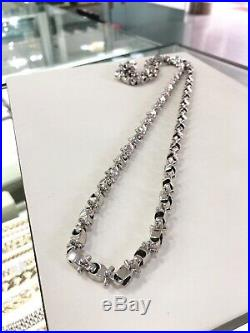 ALL WHITE 925 Sterling Silver Legoman Chain Gents Cubic Zirconia Stones
