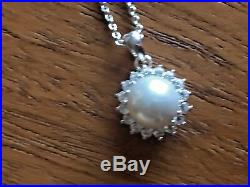 APASSIONATA Silver freshwater pearl and cubic zirconia earrings/pendant. NEW