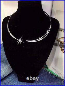 APM MONACO 925 Sterling Silver Hinged Choker w AAA Cubic Zirconia Meteorites