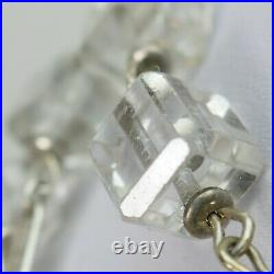 ART DECO Sterling Silver CRYSTAL cubic Bead CC ROSARY 29 antique vintage