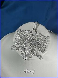Albanian Flag 925 Sterling Silver Pendant Cubic Zirconia Stones Iced Out White