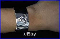 Amazing Sterling Silver Womens Cuff Bracelet With Cubic Zirconia Center Stone
