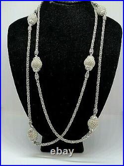Angela by John Hardy 925 Silver 36 Long Cubic Zirconia Ball Station Necklace