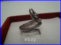 Antique USSR Rare Silver Ring 875 Beautiful Cubic Zirconia Snake Size 19