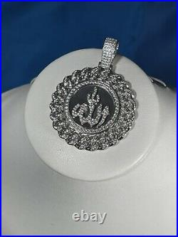 Arabic Allah 925 Sterling Silver Pendant Cubic Zirconia Stones Iced Out White