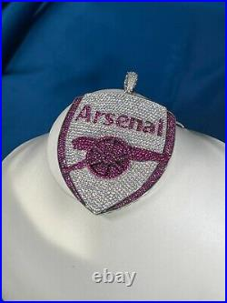 Arsenal Style 925 Sterling Silver Pendant Cubic Zirconia Stones Iced Out White
