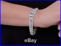 Art Deco 10.30ct Emerald & Cubic Zirconia Bracelet in Solid 925 Sterling Silver
