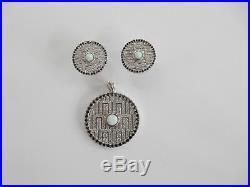 Art Deco Sterling Silver Cubic Zirconia & Opal Earrings Pendant Set 12.6grams