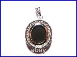 Australian Gem Opal, Cubic Zirconia and Sterling Silver Charm Pendant (3255)