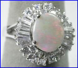 Australian Opal Ballerina Ring Accented with Cubic Zirconia Sterling Silver
