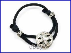 Auth Loree Rodkin Silver 925 Cubic Zirconia MEDIEVAL Code Bracelet H1278