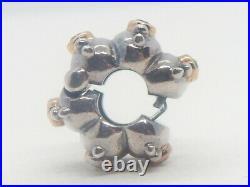 Authentic Pandora Silver 14k Gold Brown CZ Fusion Clip Charm #790853BCZ