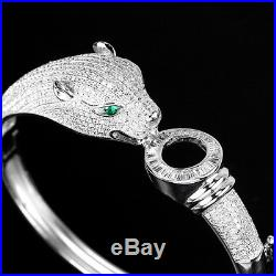 Awesome Aaa Green & White Cubic Zirconia Sterling 925 Silver Tiger Bangle 6.5