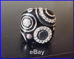 BELLE ETOILE 925 STERLING SILVER BLACK ENAMEL CUBIC ZIRCONIA GALAXY RING, Size 7