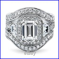 BERRICLE Silver Emerald Cubic Zirconia CZ Halo Engagement Ring Set 4.68 Carat