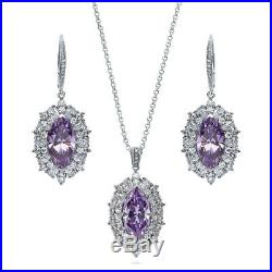 BERRICLE Sterling Silver Purple Marquise Cut Cubic Zirconia CZ Halo Fashion Set