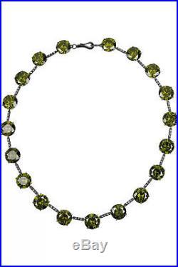 BOTTEGA VENETA Oxidized sterling silver and cubic zirconia GREEN necklace