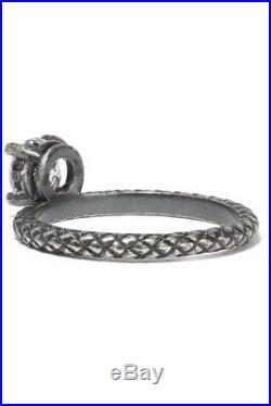 BOTTEGA VENETA Oxidized sterling silver cubic zirconia ring size 15
