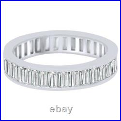Baguette Cut Cubic Zirconia Eternity Wedding Band Ring 14K White Gold Over