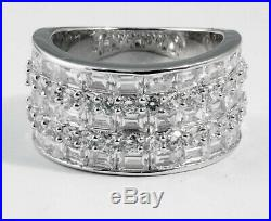 Baguette Round Wedding Anniversary Cubic Zirconia Ring Band Sterling Silver SZ 7