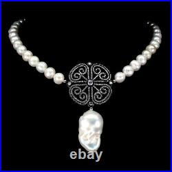 Baroque White Pearl 28x17mm Cubic Zirconia 925 Sterling Silver Necklace 14.5inch