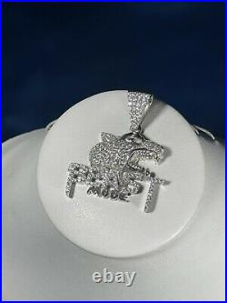 Beast Mode 925 Sterling Silver Pendant Cubic Zirconia Stones Iced Out White