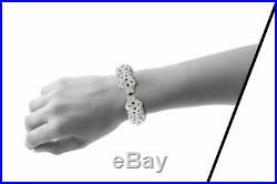 Beautiful Cuff Pave 20.00ct Cubic Zirconia Sapphire Panthere Bangle Bracelet