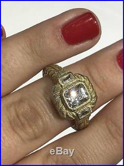 Beautiful Judith Ripka Gold Overlay Sterling Silver 925 Cubic Zirconia Ring