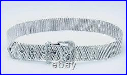 Beautiful Mesh Designed 925 Sterling Silver Choker With Cubic Zirconia Buckle