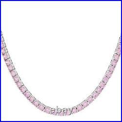 Bella Luce Pink Cubic Zirconia Rhodium Over Silver Tennis Necklace 47.25ctw