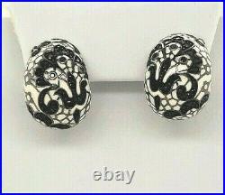 Belle Etoile 925 Fleur de Lace white black cubic enamel omega back earrings NEW