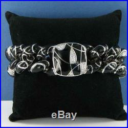 Belle Etoile Black Catena Bracelet 925 White Enamel Cubic Zirconia New