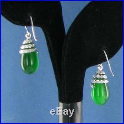 Belle Etoile Eden Earrings Sterling Silver Jade Cat Eye Cubic Zirconia New $225
