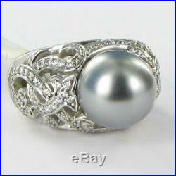 Belle Etoile Fiona Ring 925 Grey Pearl Cubic Zirconia Sz 6 NWT $250
