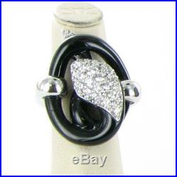 Belle Etoile Mamba Black Ring Sterling Silver Cubic Zirconia Size 6.5