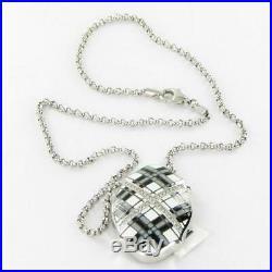 Belle Etoile Tartan Pendant Necklace Black & Wht Enamel Cubic Zirconia New