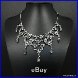 Big Rare Cubic Zirconia Byzantine 925 Sterling Silver Greek Handmade Necklace