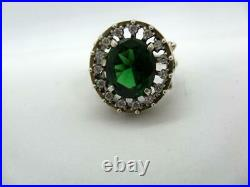 Big Vintage Sterling Silver 925 Women's Ring Jewelry Green Cubic Zirconia Size 7