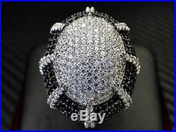 Black Color C. Z Ring Sterling Silver Rhodium Cubic Zirconia Round Cut Pinky