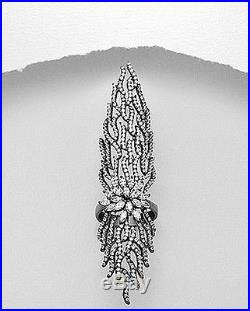 Black Sterling Silver Pave 5A VVS Cubic Zirconia Full Finger or Knuckle Ring
