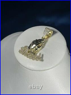 Blessed Hands Yellow Finish 925 Sterling Silver Pendant Cubic Zirconia Stones