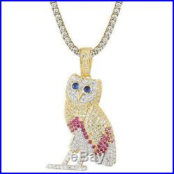Blue Eyed Owl Pendant Sterling Silver Gold Finish Multi Colored Cubic Zirconia