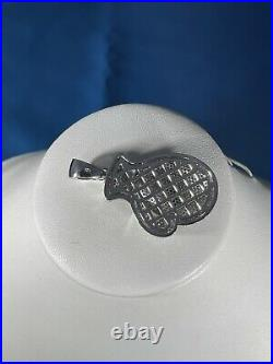 Boxing Gloves Style 925 Sterling Silver Pendant Cubic Zirconia Stones Iced Out