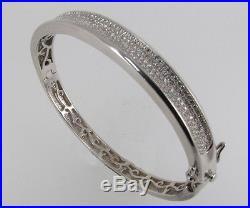 Brand New Sterling Silver Micro-pave Set Cubic Zirconia Bangle Bracelet